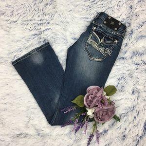 Miss Me Boot Medium Wash Bejeweled Jeans 27x30.5